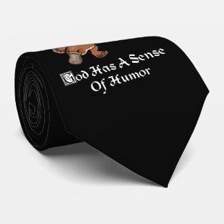 Cravate Dieu a un sens de l'humour - ornithorynque drôle