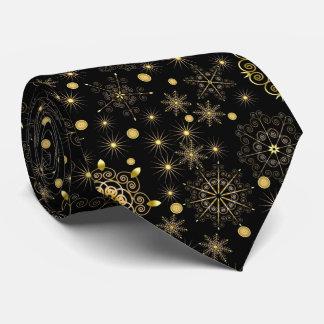 Cravate d'or de motif de flocon de neige