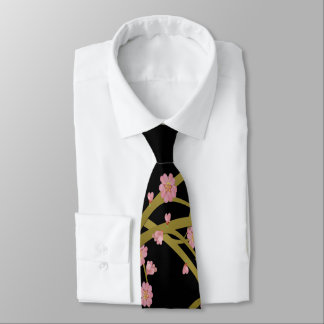 Cravate Écran rose de Japonais de noir d'or de Sakura