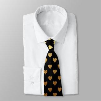 Cravate élégante de motif de coeur noir d'or