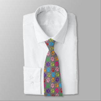 Cravate Empreintes de pattes colorés drôles de chien ou de