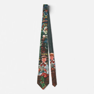 Cravate Enfants vintages de Noël chantant le choeur dans