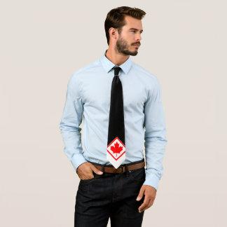 Cravate Érable canadien sur noir et blanc