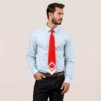 Cravate Érable canadien sur rouge et blanc