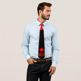 Cravate Érable rouge canadien sur le noir avec Chevron