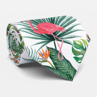Cravate Flamant tropical de rose d'été + Aquarelle de