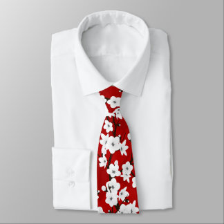 Cravate Fleurs de cerisier noires et blanches rouges