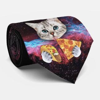 Cravate folle de l'espace de pizza de taco de chat