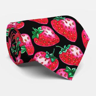 Cravate Fraise rouge sur l'arrière - plan noir