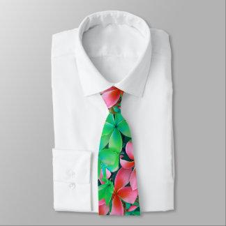 Cravate Grandes fleurs de Plumeria hawaïen vert rose