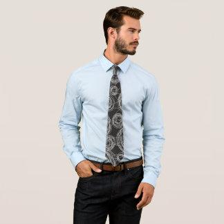 Cravate Griffonnages ronds noirs et blancs