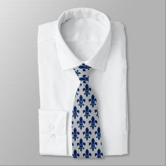Cravate Gris argenté Fleur De Lis Pattern de bleu marine