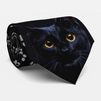 Cravate grise d'empreintes de pattes de chat noir