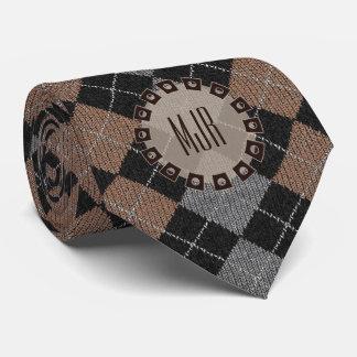 Cravate Jacquard de Brown, gris et noir à simple face