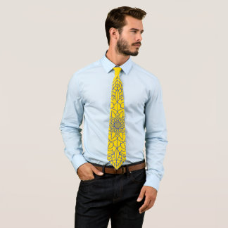 Cravate jaune de mandala