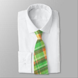 Cravate jaune-orange verte du plaid des hommes