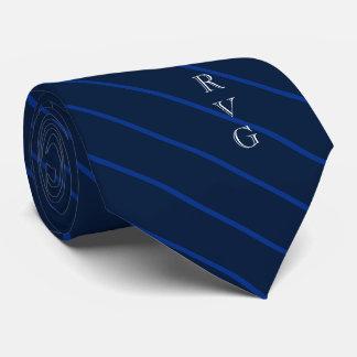 Cravate La marine foncée barre des initiales faites sur