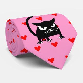 Cravate Le chat noir drôle Valentine attache | rose et