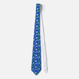 Cravate Masques floraux de Tiki d'île bleue