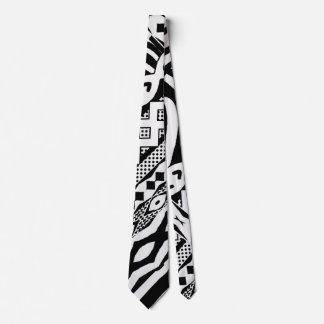 Cravate modelée par zèbre noir et blanc tribal
