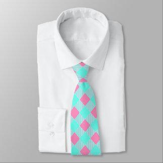 Cravate Motif à la mode rose et bleu chic de contrôle