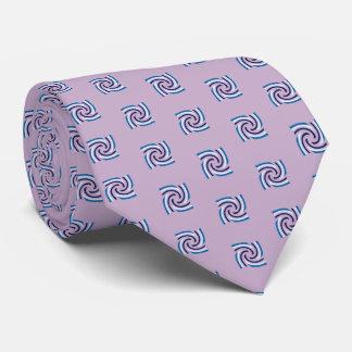 Cravate Motif blanc de noir bleu sur mauve-clair