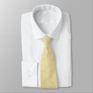 Cravate Motif blanc de rayures de feuille d'or élégante de