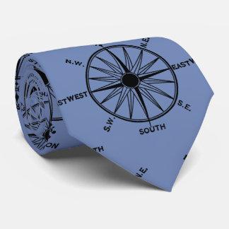 Cravate Motif de boussole de mer sur le bleu