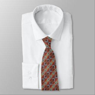 Cravate Motif de mosaïque blanc orange vert de Brown de