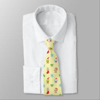 Cravate Motif de Noël de souris, de bonhomme de neige, de