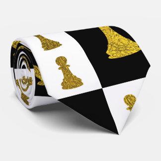 Cravate Motif de pièces d'échecs d'échiquier et d'or
