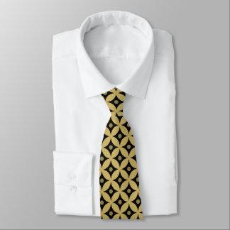 Cravate Motif de pois élégant de cercle de noir et d'or