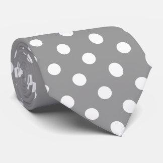 Cravate Motif de pois gris blanc