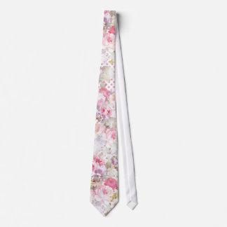 Cravate Motif de pois rose floral vintage de rose en