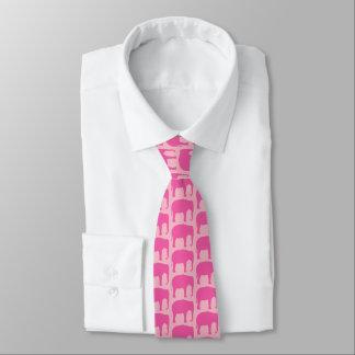 Cravate Motif de silhouettes d'éléphant rose