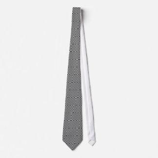 Cravate motif d'échiquier noir et blanc