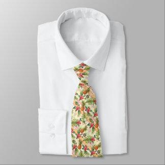Cravate Motif floral de rayure de fruit tropical d'ananas