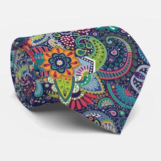 Cravate Motif floral multicolore au néon de Paisley