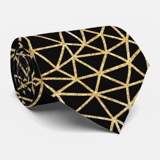 Cravate Motif géométrique d'or de rayure noire chic de
