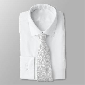 Cravate Motif géométrique gris et blanc à la mode