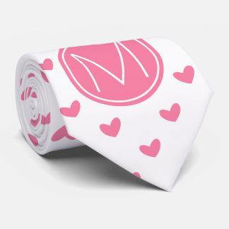 Cravate Motif minuscule blanc rose élégant de coeur de