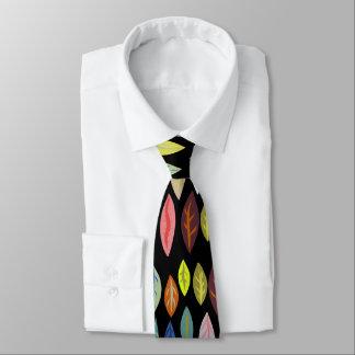 Cravate Motif moderne audacieux de feuille sur le noir