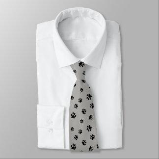 Cravate Motif noir d'empreintes de pattes sur l'arrière -