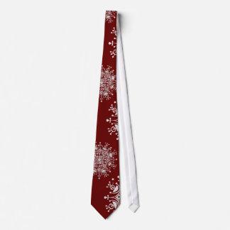 Cravate Motif rouge de tempête de neige de flocons de