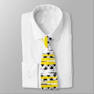 Cravate Motif tribal de rayures jaunes blanches noires