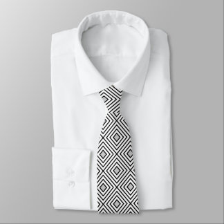 Cravate Motif tribal de rayures noires et blanches