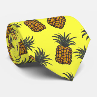 Cravate motif tropical peint à la main coloré d'ananas