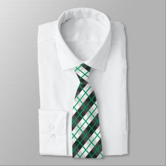 Cravate Motif vert et noir et blanc irlandais de plaid