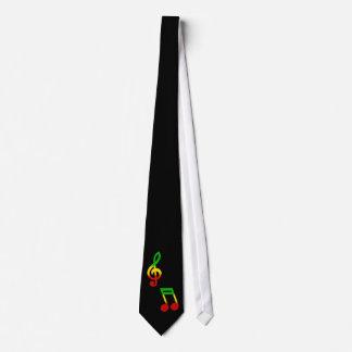Cravate Noir de note de Rasta et de clef triple