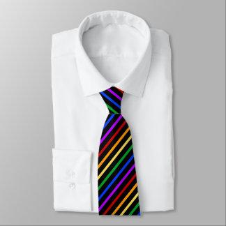 Cravate Noir et rayures d'arc-en-ciel
